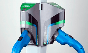 Aerovironment's TurboDock electric vehicle charging station for commercial and workplace settings is controlled through a smartphone app.
