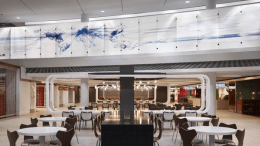 To contribute to the terminal's world-class traveler experience, a new open plenum metal ceiling system was installed above the redesigned TSA Checkpoint and a metal baffle ceiling system was installed above the renovated and expanded Concessions Program.
