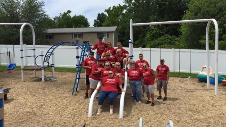 Several employees from EYE Lighting International, a manufacturer of luminaires, lamps, controls and related lighting products, assisted in making improvements for the residents at Forbes House in Mentor during the annual United Way of Lake County Day of Caring.
