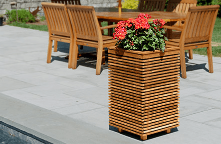 """PlanterSpeakers.com has introduced The Piermont Series, using its """"Flagstone"""" speaker configuration, teak wood and custom plant grow bags from Smart Pots USA."""