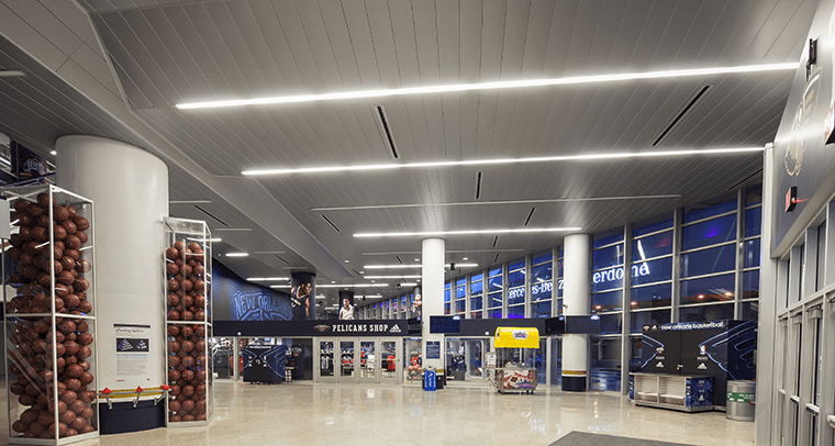 The 300C Linear Plank metal ceilings' concealed suspension system also contributed to its clean, monolithic appearance.