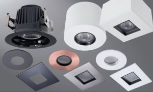The modular recessed downlight system includes a housing, LED module and a choice of a round or square 2-inch aperture pinhole trim.