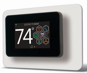 The touch-screen thermostat from Johnson Controls incorporates smart technology to communicate with both conventional and connected HVAC systems.