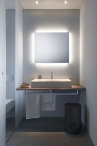 The ambient light mirrors cast light on the room rather than directly on the user.