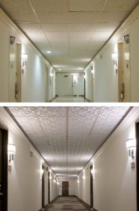 Renovation of the Hollywood Hotel includes a ceiling from Ceilume.