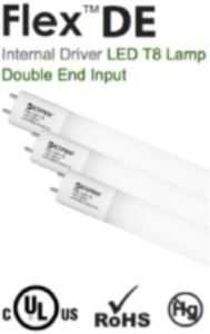 The double-sided LED T8 lamps work with shunted or unshunted sockets and are compatible with controls and sensors.