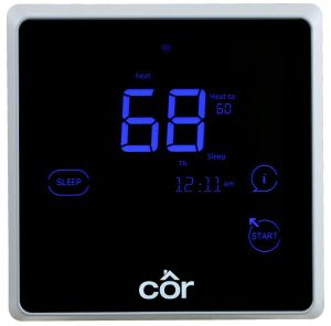 The Cor 5C and Cor 7C thermostat Smart Setback feature optimizes system performance based on each building's individual thermal characteristics to enhance energy savings and owner comfort.