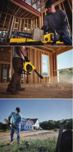 The Outdoor Power Equipment lineup includes the 60V MAX Chainsaw, Handheld Blower, and String Trimmer, all featuring the FLEXVOLT 60V MAX 3.0Ah battery.