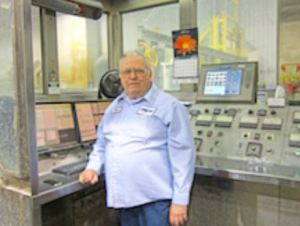 Hall has worked with the anodize tanks at Linetec since 1986.