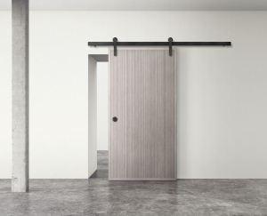 PlybooDoor interior door system is custom fabricated to work with Krownlab sliding door hardware systems.