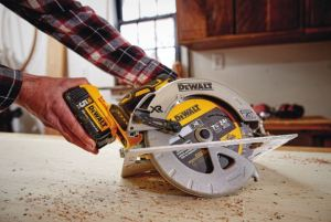 The 20V MAX XR Circular Saw features a blade large enough for most common applications and a brushless motor.