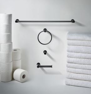 The matte look of the Flat Black finish alongside the rounded edges of the decorative hardware results in a style made to fit any bathroom design.