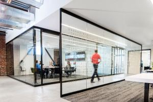 The office includes energy-efficient glass, LED lights, low-flow showers and sinks, and a water-bottle refilling station.