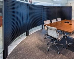 Móz Designs uses laser cut metal sheets to provide the Maximus office with metal partitions.