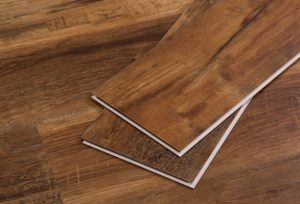 This luxury vinyl plank derives its construction from GeoCore, a backbone of limestone composite that delivers a locking system and structural stability.