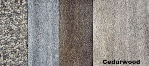 CEDARWOOD provides a neutral color option for exterior design compared to the DRIFTWOOD and BARNWOOD options from Duradek.