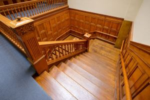Skylights bring more sun into third-floor corridors and help showcase the woodwork in stairwells.