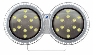 The waterproof high bay LED light fixture from Larson Electronics features an added internal driver to monitor and adjust input current.