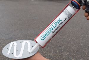 Green Link Adhesive/Sealant is formulated to adhere to PVC, EPDM, TPO, and Mod Bit, as well as the KnuckleHead base.