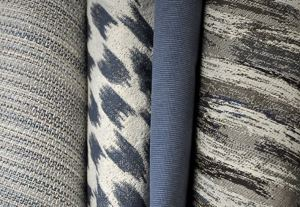 Textures and hues pulled from the sky and sea complete the Into the Blue Collection.