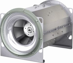 The octagonal housing coupled with the straightening vanes of the aluminum mixed flow wheel improves fan efficiency and reduces sound levels.