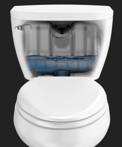 Sloan pressure-assisted toilets reduce double flushes as the higher pressure clears the drainline on the first flush.