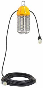 The LED area work light is enclosed in a bird cage style guard with a hook, both constructed of stainless steel.