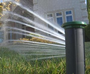 The IrriGreen Genius Irrigation System contains its sprays within the outline of the lawn.