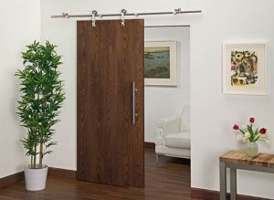 Barn Door Hardware can be applied to any interior door, including glass.
