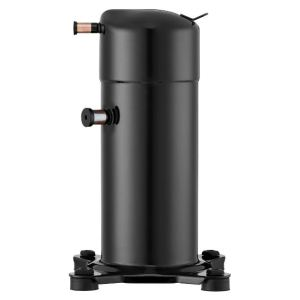The LG scroll compressor for commercial refrigeration features a calibrated vacuum compression prevention device and a discharge reed valve.