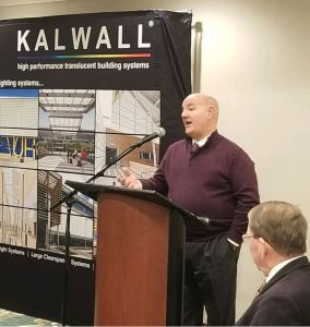 Kalwall Corp. recognizes Steve Del Guercio with 2018 Salesman of the Year award.