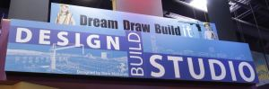 "The ""Dream it, Draw it, Build it"" exhibit features three activity zones, each representing various aspects of the architectural design process."