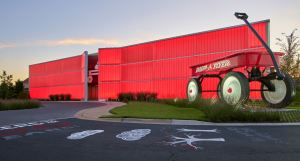 The entrance to the Radio Flyer building reflects its energetic and whimsical spirit.
