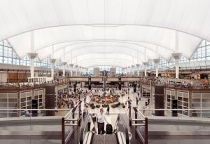 At DEN, the terminal's Great Hall is enclosed by a double-layer fiberglass fabric roof, which increases space flexibility.