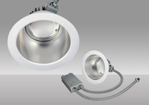 The Commercial Downlight Retrofit family can upgrade existing incandescent, fluorescent and metal halide downlight fixtures to LED.