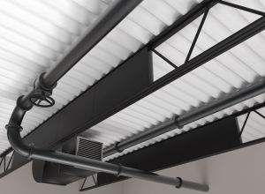 InvisAcoustics Basics panels and Tectum Direct-Attach panels attach vertically onto trusses and I-beams.