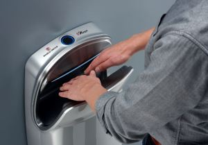 The VMax V2 hand dryer features a wide cavity design for user convenience.