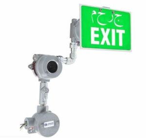 Explosion proof LED exit sign with 4-inch letters is rated for use in hazardous locations.