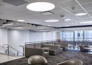 The new ceilings help absorb the noise reflected by the many hard surfaces.