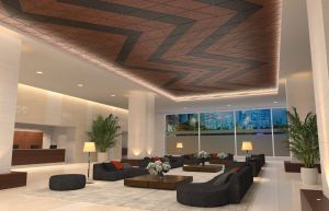 WoodWorks Shapes ceiling panels offer the character of wood in geometric panels.