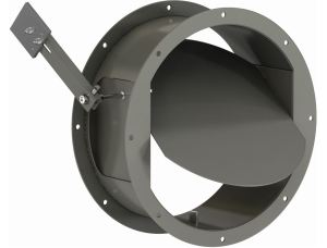 The HBR-150 is a round industrial backdraft damper with a flanged-style frame.