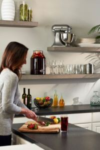 The floating shelves developed by REHAU have a storage capacity of up to 15 pounds per linear foot.