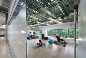 A wellness room, workout room, kitchen featuring healthy snacks, and bicycles made available for nearby errands helps the building achieve WELL Gold certification.
