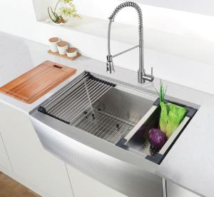 The Verona Workstation Sink can accommodate over-sized pots and pans.