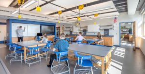 The retrofitting of 18 science classrooms and a small group-study area encompassed 32,523 square feet of interior space