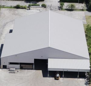 The roof re-cover was completed with the 238T symmetrical standing seam roofing system from McElroy Metal in .040 aluminum.