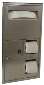 The B-3091, B-3092, B-30919 and B-30929 units combine toilet tissue dispensers, toilet seat cover dispensers and waste disposals in a single stainless steel unit.