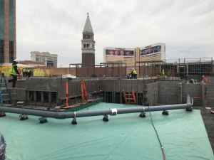 The Venetian undergoes a rooftop pool deck renovation project which includes five interconnected pools.