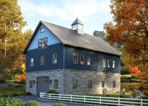 The composite stone panels replicate the look of real stone but weigh less and installs similar to conventional siding.