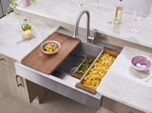 Dart Canyon is a farmhouse sink that allows tasks to be completed while seated.